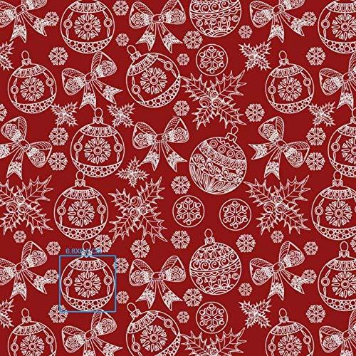 Pingianer Tela de algodón para niños, 100 x 160 cm, 100 % algodón, por metros, artesanía, costura (bola de Navidad, lazo rojo 1, 100 x 160 cm)