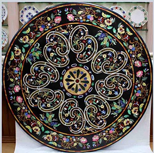 Mesa de comedor con incrustaciones de mano de 156 x 152 cm Pietra Dura Art Hotel de Ancient Crafts
