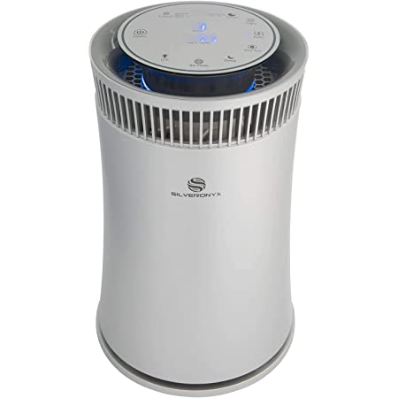 SilverOnyx Air Purifier for Home, H13 True HEPA Filter, Air Cleaner with UV Light, Air Quality Monitor, for Allergies and Pets, Dust, Quiet Odor Eliminator for Bedroom - Large Room 500 sq ft Silver
