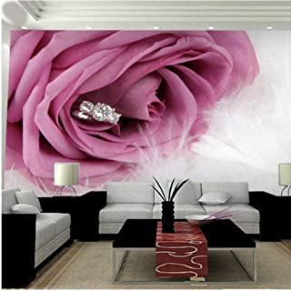Pbldb Large Romantic Pink Rose 5D Flower Mural Diamond Feather 3D Photo Murals Wallpaper for Bedroom Background 3D Wall Mural-250X175Cm