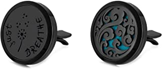Mesinya Black Genuine Leather 1'' Just Breathe bracelet / 316L s.steel Essential Oils Diffuser Locket bangle 6''-8''wrist (2 Pack Black Car Vent Clip)