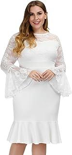 Hanna Nikole Women's Plus Size Floral Lace Bell Sleeve Mermaid Bodycon Party Midi Dress