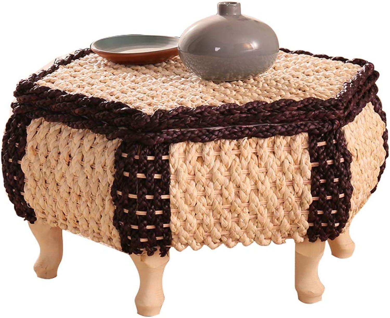 Japanese-Style Hexagonal Tatami Coffee Table Handmade Rattan Coffee Table Floor Solid Wood Table Bay Window Table Learning Desk with Storage