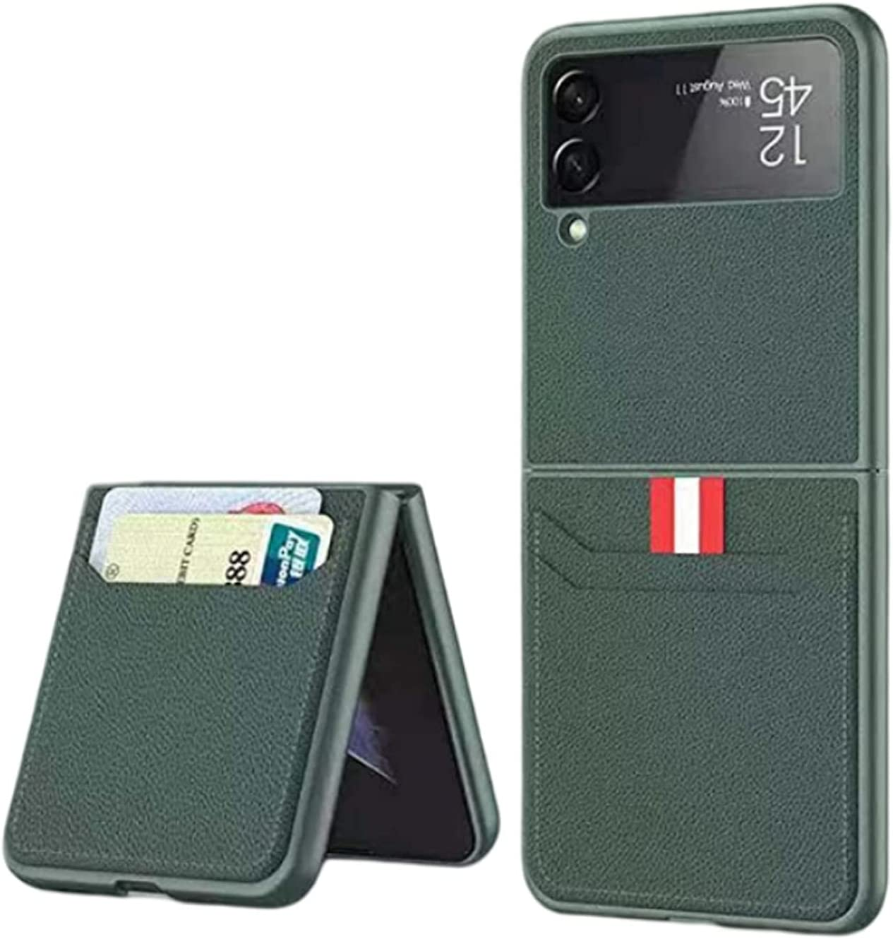 for Samsung Galaxy Z Flip 3 5G Phone,Slim Cover with Leather Wallet Card Leather Case Compatible with Galaxy Z Flip 3 (Green)