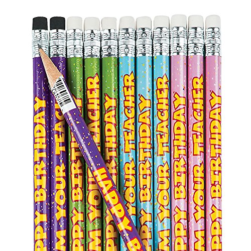 Fun Express Happy Birthday from Your Teacher Pencils - 24 Pieces - Educational and Learning Activities for Kids