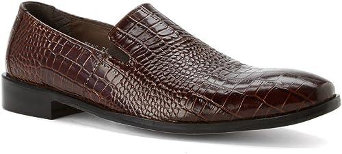 STACY ADAMS Men& 039;s Galindo Plain Toe Slip On 24996,Cognac Leather,US 10 M