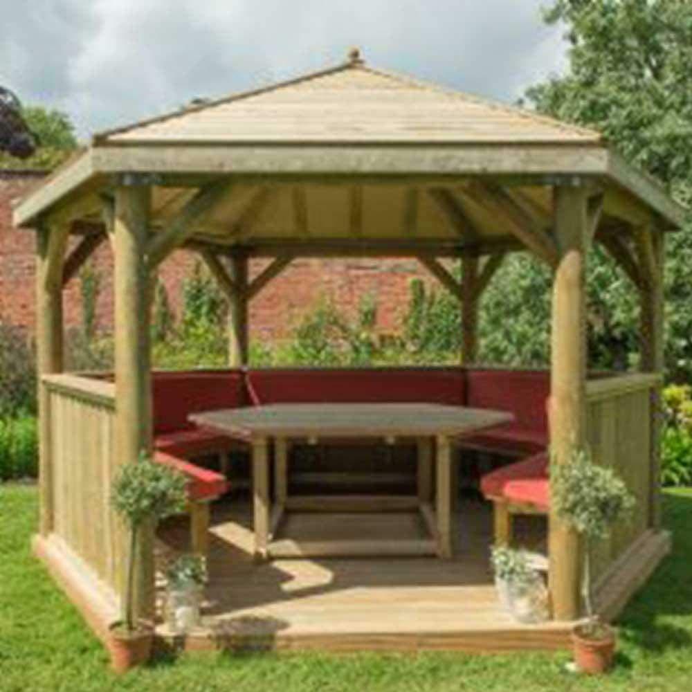 3, 6 m Hexagonal Madera Tratada A Presión Jardín Carpa con Techo de madera tradicional: Amazon.es: Jardín