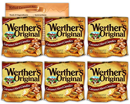 Werthers Original Hard Candy   2.65 Ounce Bags - Pack of 6   Bundled with Ballard Caramel Sauce Recipe Card