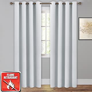 NICETOWN Insulated Flame Retardant Curtain Blind - (Greyish White Color) W52 x L95, 2 Pieces, Thermal Privacy Protection Window Treatment Fire Resistant Drapes/Draperies for School