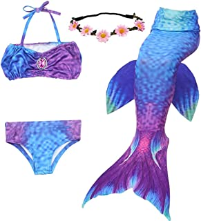 Mermaid Bathing Suit Cosplay Costume Mermaid Theme Party Supplies for Girls Kids (No Monofin)