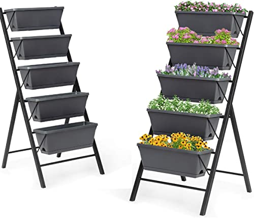 lowest Giantex Set of 2 Vertical outlet sale Raised Garden Bed, Elevated Planter Raised Beds with Water Drainage, Freestanding lowest 5 Container Boxes for Vegetables and Flowers Growing, Outdoor Indoor Patio Balcony online