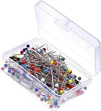 joyliveCY 250pieces alfileres con cabeza de cristal en caja para sastre