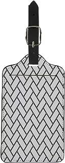 Pinbeam Luggage Tag Herringbone Pattern Rectangles Slabs Tessellation Black Hollow Blocks Suitcase Baggage Label
