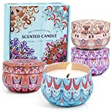 SCENTORINI Scented Candles, Soy Wax Candles, Aromatherapy Candles, Linen, Cinnamon & Apple, Lavender & Vanilla, Rose & Sandalwood, 4x2.5oz