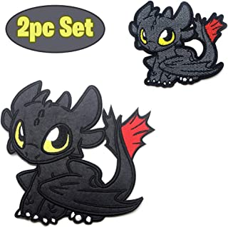 Party Hive 2pc How to Train Dragon Toothless (Night Fury) Embroidered Iron On Sew On Applique Patch [Clothing, Backpack, Jeans, Hat, Jacket]