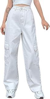 Straight Leg Jeans Women's Casual Stylish Cargo Pants Baggy Barrel Jeans Pockets High Waist Hip Hop Denim Trousers