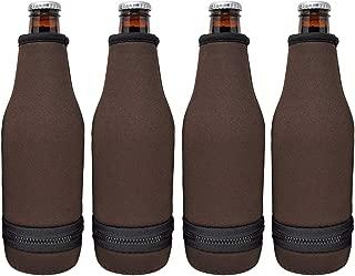 TahoeBay 12 Beer Bottle Sleeves - Easy-On Bottom Zipper - Extra Thick Neoprene Blank Drink Cooler (Chocolate Brown, 12)