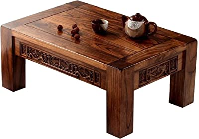 Table Chinese Antique Carved Solid Wood Bay Window Japanese-Style Tatami Coffee Low with Sun Terrace Strong and Firm (Color : Walnut, Size : 70 * 45 * 30cm)