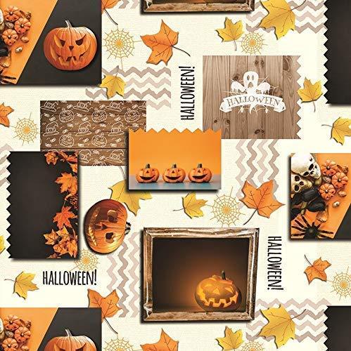 Kevcus wasdoek tafelkleed metergoed herfst Halloween H3110 grootte selecteerbaar in vierkant rond ovaal 140 x 260 cm oval multicolor