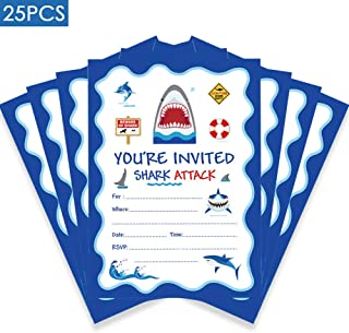 25 Pcs Shark Birthday Party Invitations, Shark Theme Party Invitations, Kids Birthday Invitations for Boys or Girls