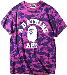 Bape Camouflage Stitching Shark Printing Men/Women Short-Sleeved T-Shirt