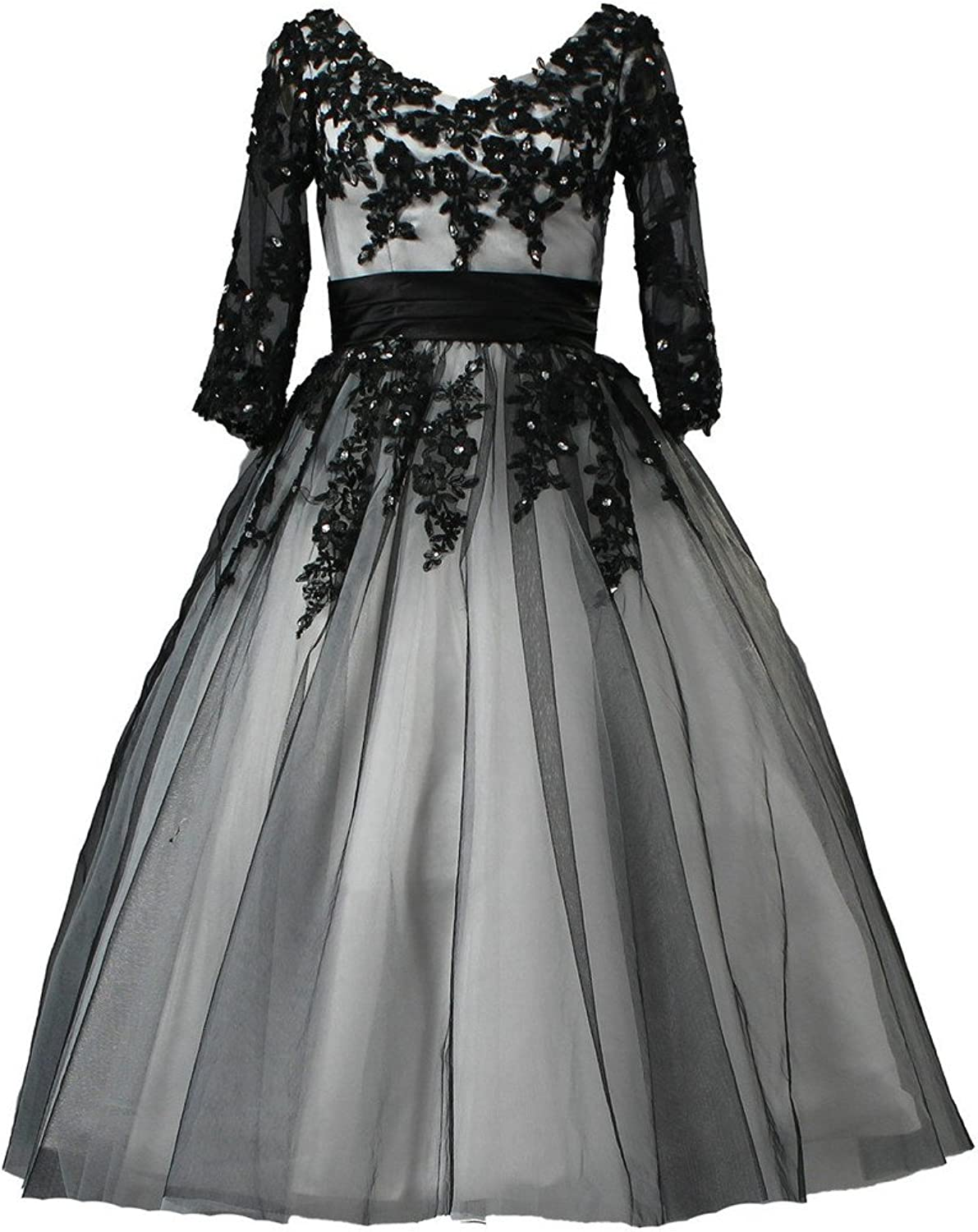 ANTS Women's Vintage Tulle Lace Satin Short Wedding Dresses with Sleeves