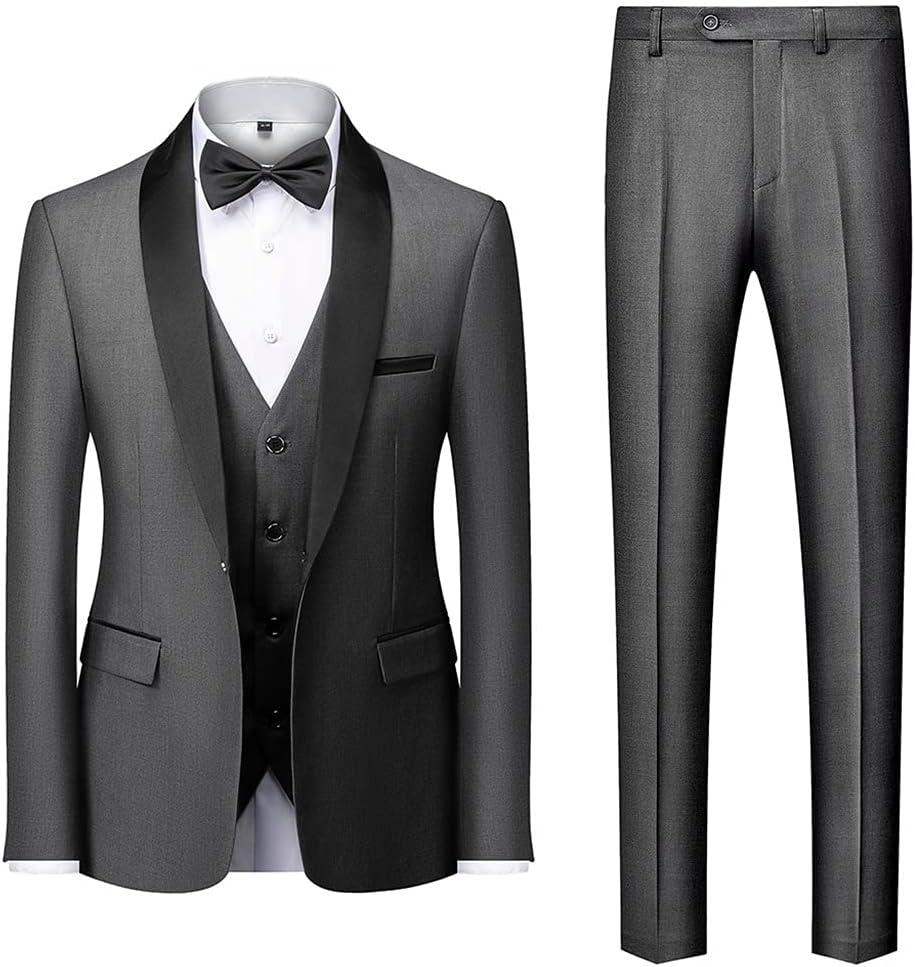 UXZDX CUJUX Men Collar Suits Jacket Trousers Waistcoat Male Business Casual Wedding Blazers Vest Pants 3 Pieces Set (Color : Gray, Size : XXXL Code)