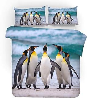 ZZZXX Funda De Edredón Pingüino Animal Junto Al Mar Juego De Colcha De 3 Piezas Poliéster con Cremallera Oculta, Ropa De Cama con 1 Funda Nórdica Y 2 Funda De Almohada,200X200