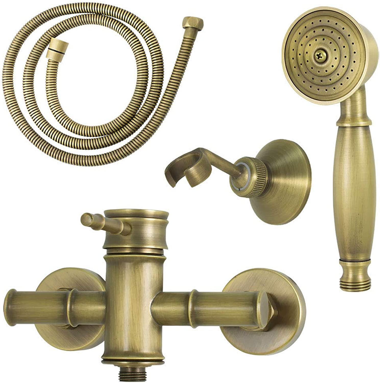 Nostalgia Retro Mixer Tap Single Lever Shower Antique Brass Sanlingo Iris