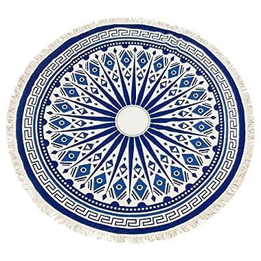 APPARELISM Premium Heavy Thread Count Mandala Summer Round Beach Towel Blanket with Tassel.(7004-Blue Aztec)