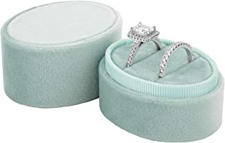 Koyal Wholesale Double Oval Velvet Ring Box, Vintage Wedding Ceremony Ring Box with Detachable Lid, 2 Piece Engagement Ring Box Holder, Proposal Idea, Slim Ring Box with Cushion (Mint Green)