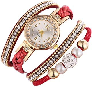 Womens Quartz Watches LITTLE TREE-AU Unique Analog Sale Clearance Ladies Wrist Watch Female Watches for Women, Round Dial Case Leather Band Fashionable Boho Braid Bracelet Wrist Watch y121 (Red)