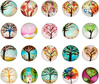 PH PandaHall 200pcs 12mm Tree of Life Printed Half Round Dome Glass Cabochons for Jewelry Making