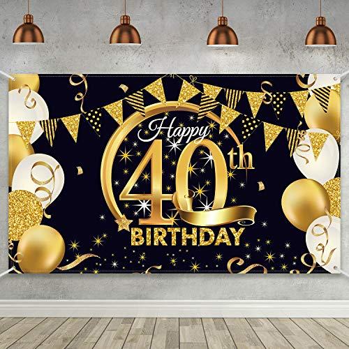 Blulu Decoración de Fiesta de 40 Cumpleaños, Tela Extra Grande Póster de Señal Dorado Negro para 40 Aniversario Fondo de Foto, Materiales de Fiesta de Cumpleaños, 72,8 x 43,3 Pulgadas (Estilo B)