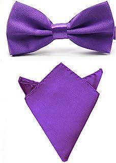 Men Satin Solid Color Pre-tied Tuxedo Bowtie Bow Tie Handkerchief Pocket Square Set (Purple)