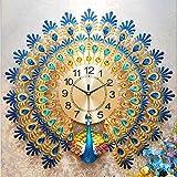 FTFTO Equipo de Vida Reloj de Pared Reloj de Cuarzo Creativo para el Pavo Real Decoración del hogar Reloj Mudo Arte Adecuado para Sala de Estar C