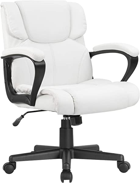 Furmax Mid Back Executive Office Chair Leather Padded Desk Computer Chair With Armrests Ergonomic Swivel Task Chair With Lumbar Support White