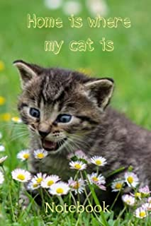 Home is Where My Cat is Notebook: Cute kitten daisy field lined paperback jotter