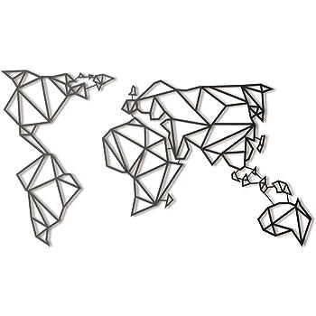 Hoagard - Mapamundi de metal, XL, mapa del mundo (80 x 140 cm), diseño geométrico, color negro, decoración para pared: Amazon.es: Hogar