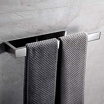 Foto di Lolypot - Porta asciugamani autoadesiva in acciaio INOX, Portasciugamani senza perforazione da 35cm, porta asciugamani per bagno e cucina, Abbastanza a lungo per due Asciugamani(Cromo, autoadesiva)