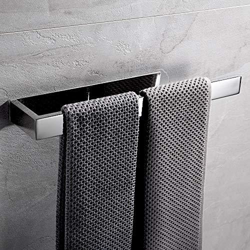 Lolypot - Porta asciugamani autoadesiva in acciaio INOX, Portasciugamani senza perforazione da 35cm, porta asciugamani per bagno e cucina, Abbastanza a lungo per due Asciugamani(Cromo, autoadesiva)