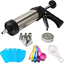 Cookie Press Gun Kit, Stainless Steel Classic Biscuit Maker with 7 Icing Tips for Biscuit and 13 Metal Cookie Press Discs,...