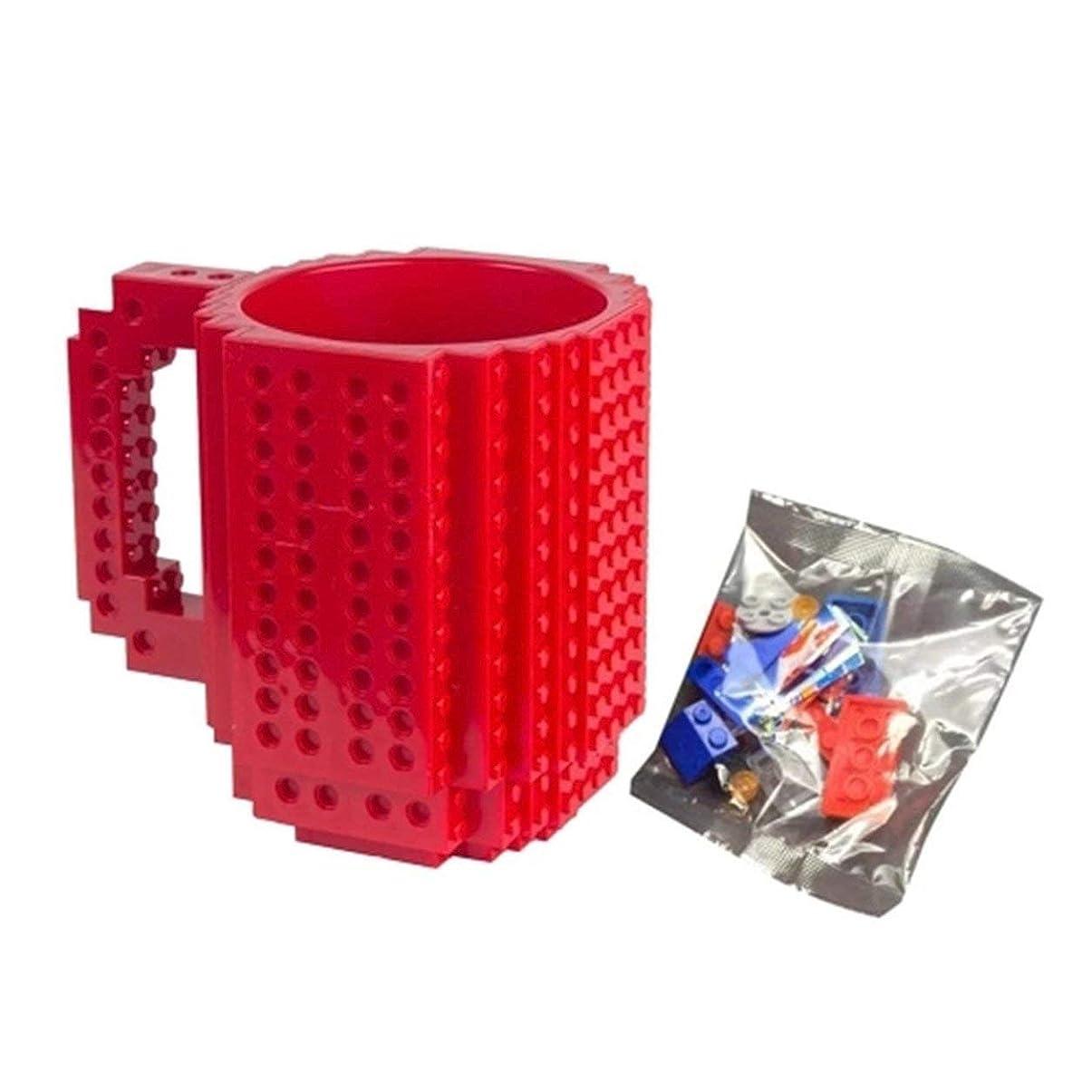 部分的に発火するポークSaikogoods レンガマグカップDIY?ビルディング?ブロックのコーヒーカップを構築 赤