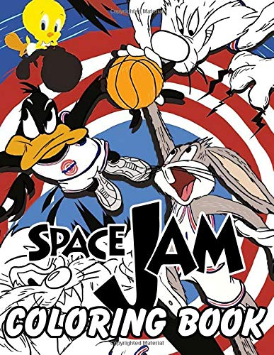 Space Jam coloring book: Warner Bros Cartoon NBA Illustration Coloring Book For Adults Boys Basketball Fans