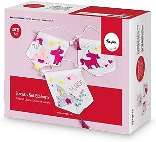 Rayher 53995000 Kreativ Set Einhorn Kindergeburtstag Bastelpackung, für acht Wimpel mit Einhorn und pinkfarbenen Deko-Elementen, Mit viel Spaß wird geschnitten, gemalt und geklebt