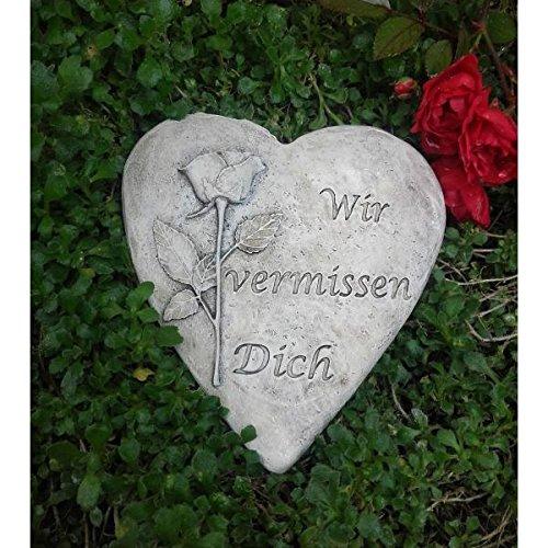 Rada Grabherz Grabengel Spruch - Wir vermissen Dich - Grabschmuck Grabdeko Trauerherz