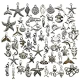 Youdiyla 100pcs Summer Beach Charms Collection, Bulk Marine Sea Animal Life Nautical Charms Metal Pendant Craft Supplies Findings for Necklace and Bracelet Jewelry Making (HM292)