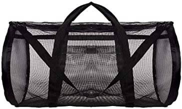 Mesh Beach Bag, storage bag beach beach toys bathing suit storage bag (Color : Black)