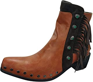 QueenMM Western Combat Booties for Women Casual Fringe Side Zipper Closed Toe Ankle Booties Cowboy Boots with Studded