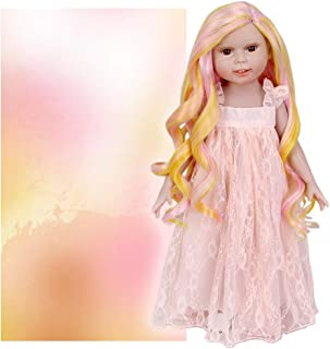 STfantasy Doll Wig for 18 Inches American Girl Doll AG OG Journey Girls Gotz My Life Sunset Ombre Curly Synthetic Hair Girls Gift